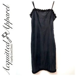 Vintage Betsey Johnson Black Midi Dress Ruffles